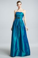 David Meister Signature Strapless Bead Waist Ball Gown - Lyst