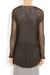 Helmut Lang Vintage Tape Open Knit Cotton Blend Sweater in Brown (anthracite) - Lyst