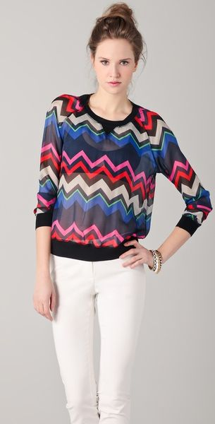L.a.m.b. Bold Zigzag Silk Top in Multicolor (multi) - Lyst