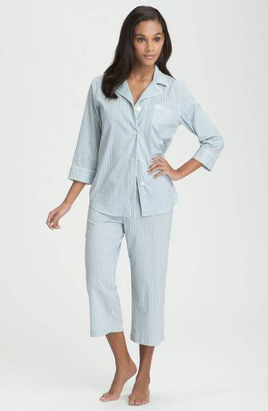 Lauren By Ralph Lauren Sleepwear Capri Pajama Set in Blue (washed chambray) - Lyst