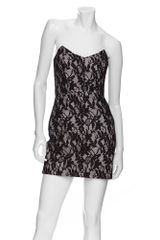 Mason by Michelle Mason Strapless Floral Lace Dress