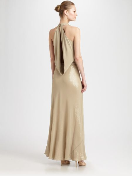 Nicole Miller Draped Sequin Gown In Gold Lyst
