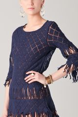 Nightcap Tribal Fringe Tunic in Blue (midnight) - Lyst