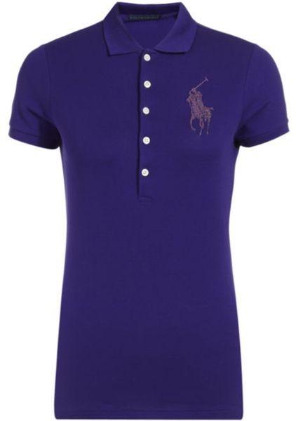 Ralph lauren blue label jewelled big pony polo shirt in for Black ralph lauren shirt purple horse