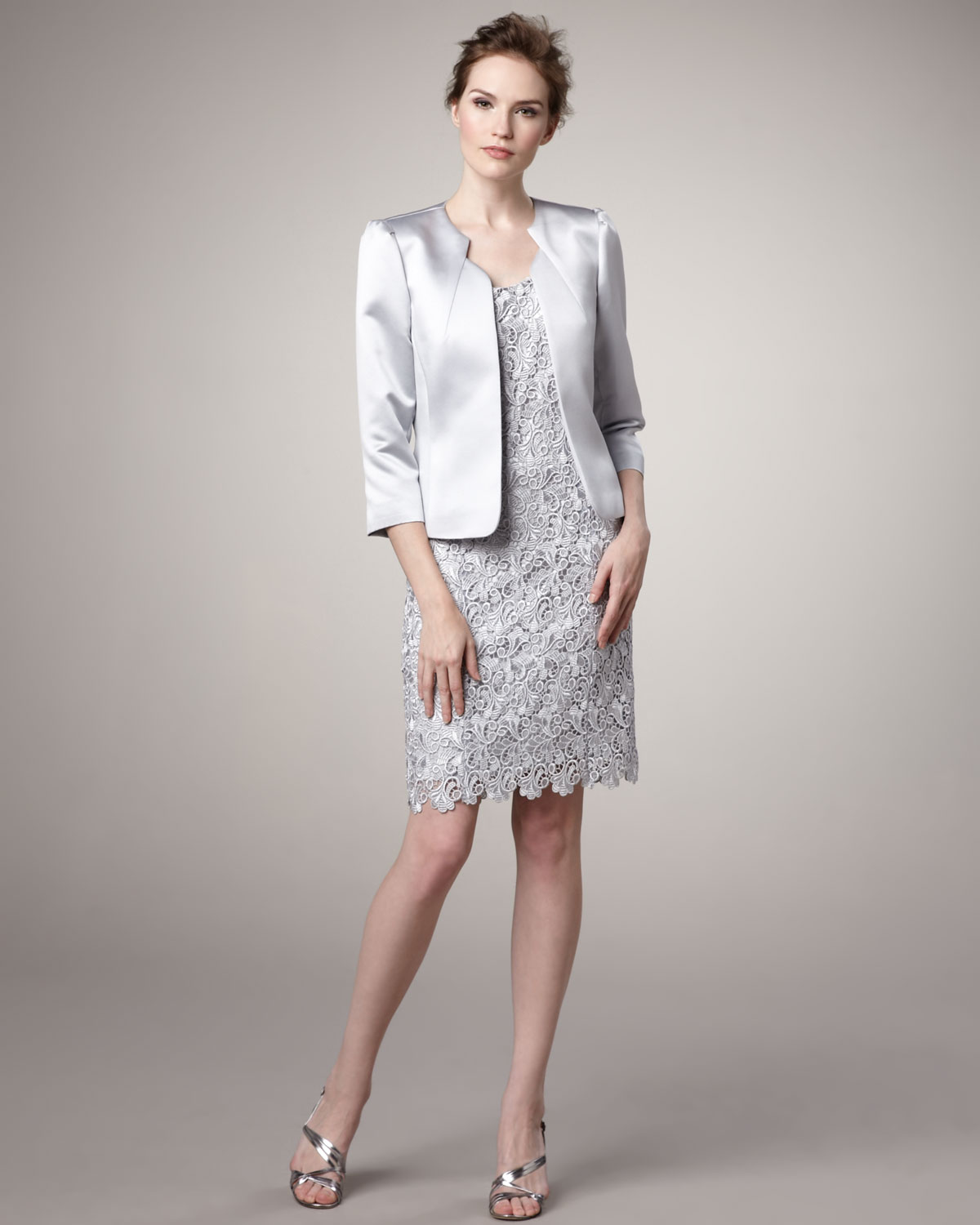 Tahari Satin Jacket and Lace Dress in Metallic | Lyst