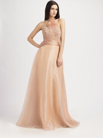 Theia Beaded Organza Gown - Lyst