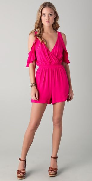 Twelfth Street By Cynthia Vincent Cold Shoulder Romper in Pink (hibiscus) - Lyst