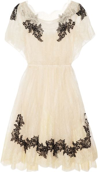 Valentino Appliquéd Lace Dress - Lyst
