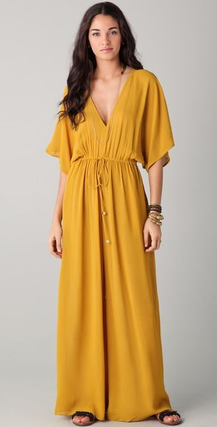 Zimmermann Drawstring Plunge Jumpsuit in Yellow - Lyst