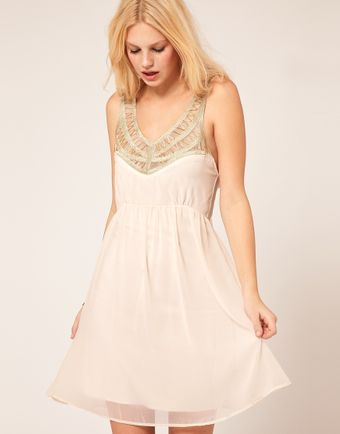 ASOS Collection Chiffon Dress With Embellished Neck - Lyst