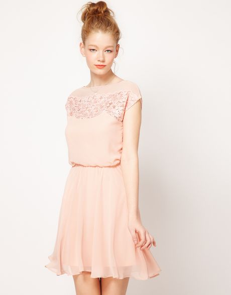 Asos Skater Dress With Daisy Lace in Pink (peach) - Lyst