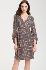 Donna Ricco Blouson Sleeve Jersey Wrap Dress - Lyst