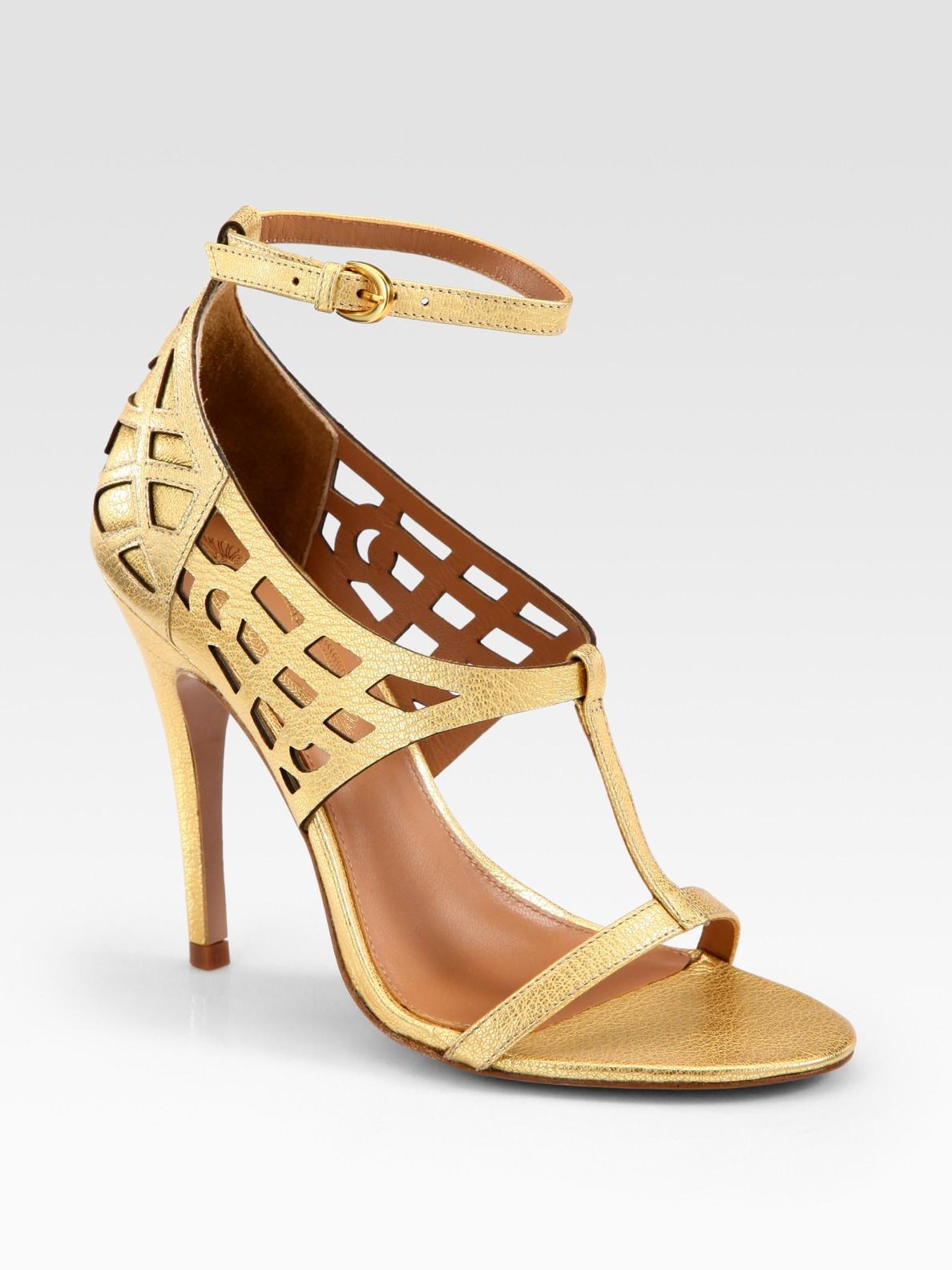 Elie Tahari Metallic Leather Tstrap Cage Sandals In