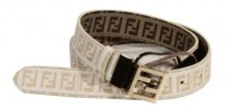Fendi Square Buckle Small Shiny Reversible Zucchino in Beige (whipped cream)