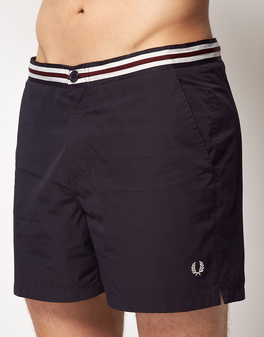 bdcdd80691 Fred Perry Fred Perry Waistband Tape Swim Shorts in Blue for Men - Lyst