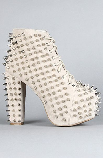 Jeffrey Campbell The Spike Lita Shoe in Nude Suede and Silver in Beige (nude) - Lyst