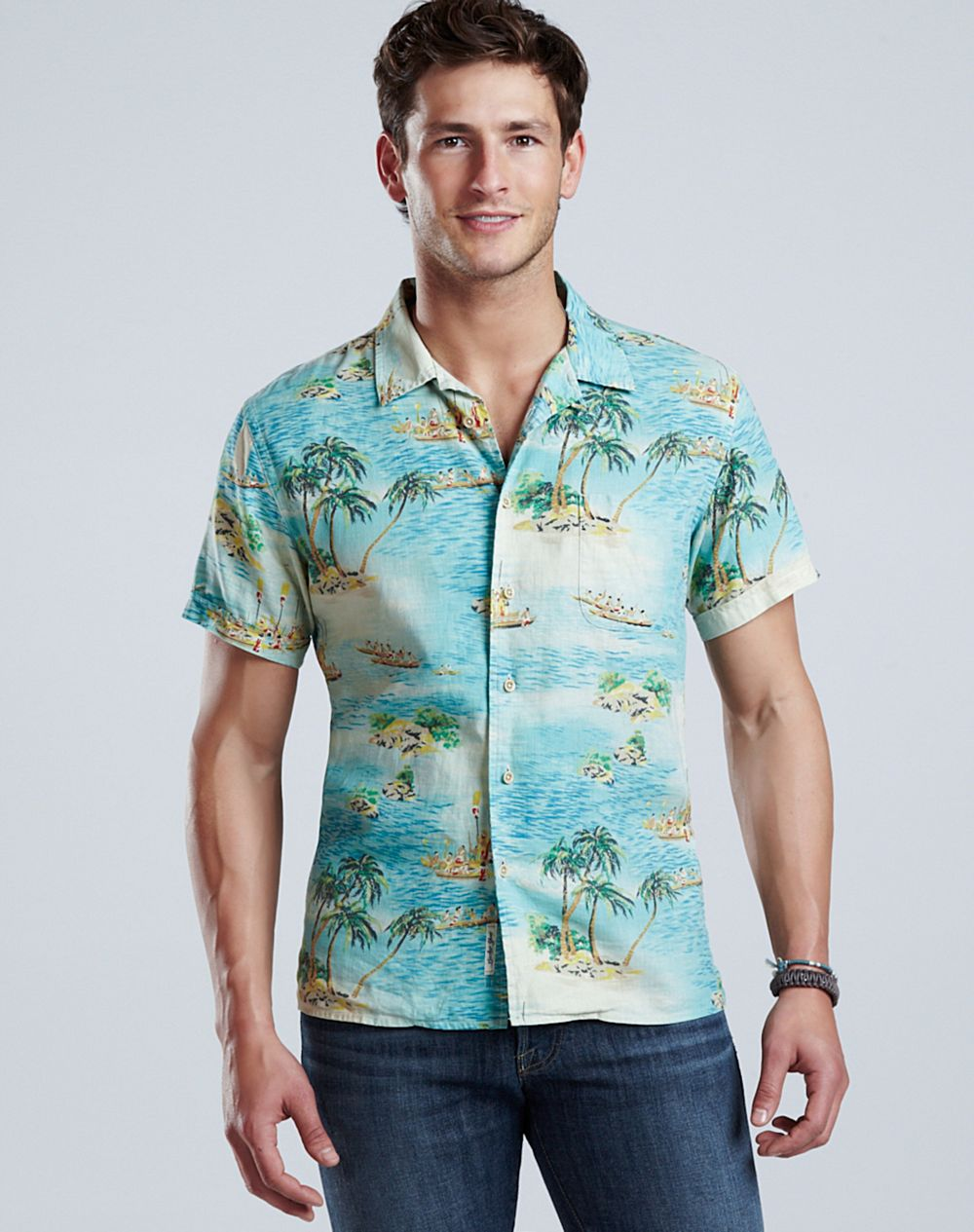 Lucky Brand Dale Hope Hawaiian Shirt In Blue For Men