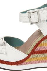 Michael Antonio Gemma Wedge Sandal in Multicolor (white) - Lyst