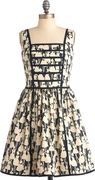 Modcloth Orla Kiely Youre in Good Company Dress in Beige (ivory)