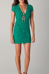 Nightcap Deep V Cap Sleeve Dress in Green (emerald) - Lyst
