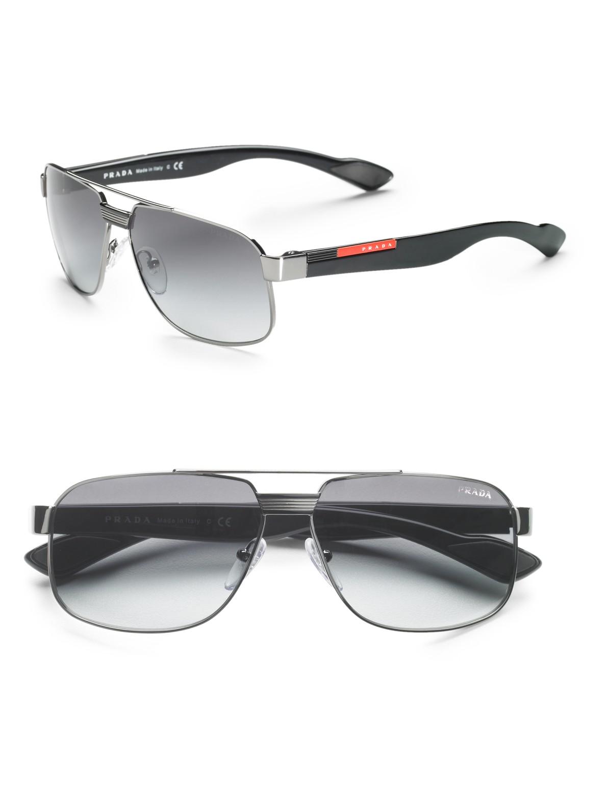 Lyst Prada Metal Caravan Sunglasses In Metallic For Men