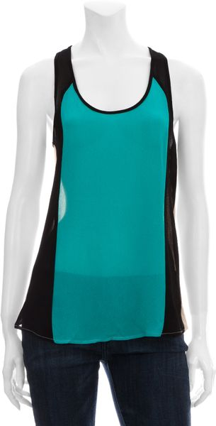 Scoop Sporty Colorblock Top in Blue (mint) - Lyst