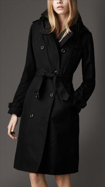 Burberry Long Cotton Gabardine Hooded Trench Coat In Black