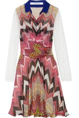 Carven Printed Silkchiffon and Lace Dress - Lyst