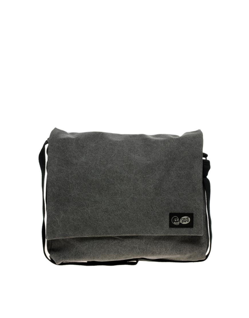 cheap monday canvas messenger bag in gray for men grey lyst. Black Bedroom Furniture Sets. Home Design Ideas