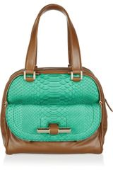 Jimmy Choo Justine Leather And Python Tote - Lyst