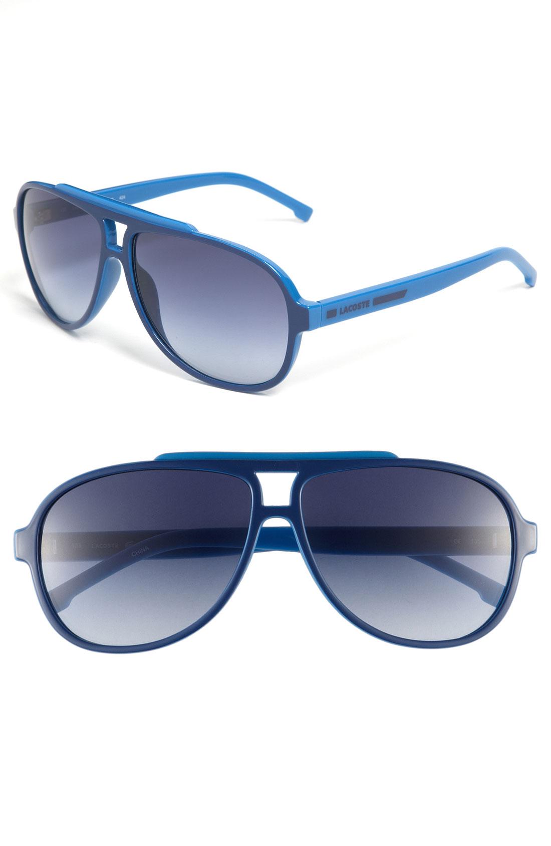 Lacoste Aviator Sunglasses In Blue For Men Blue Light