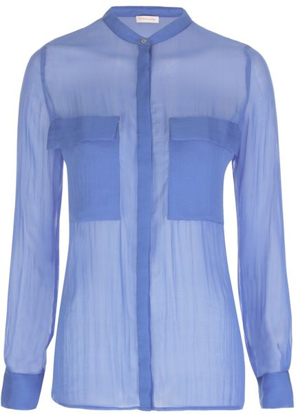 Matthew Williamson Summer Chiffon Utility Shirt in Blue - Lyst