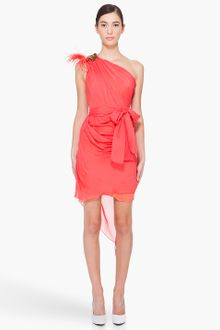 Matthew Williamson Neon Coral Silk Drape Dress - Lyst
