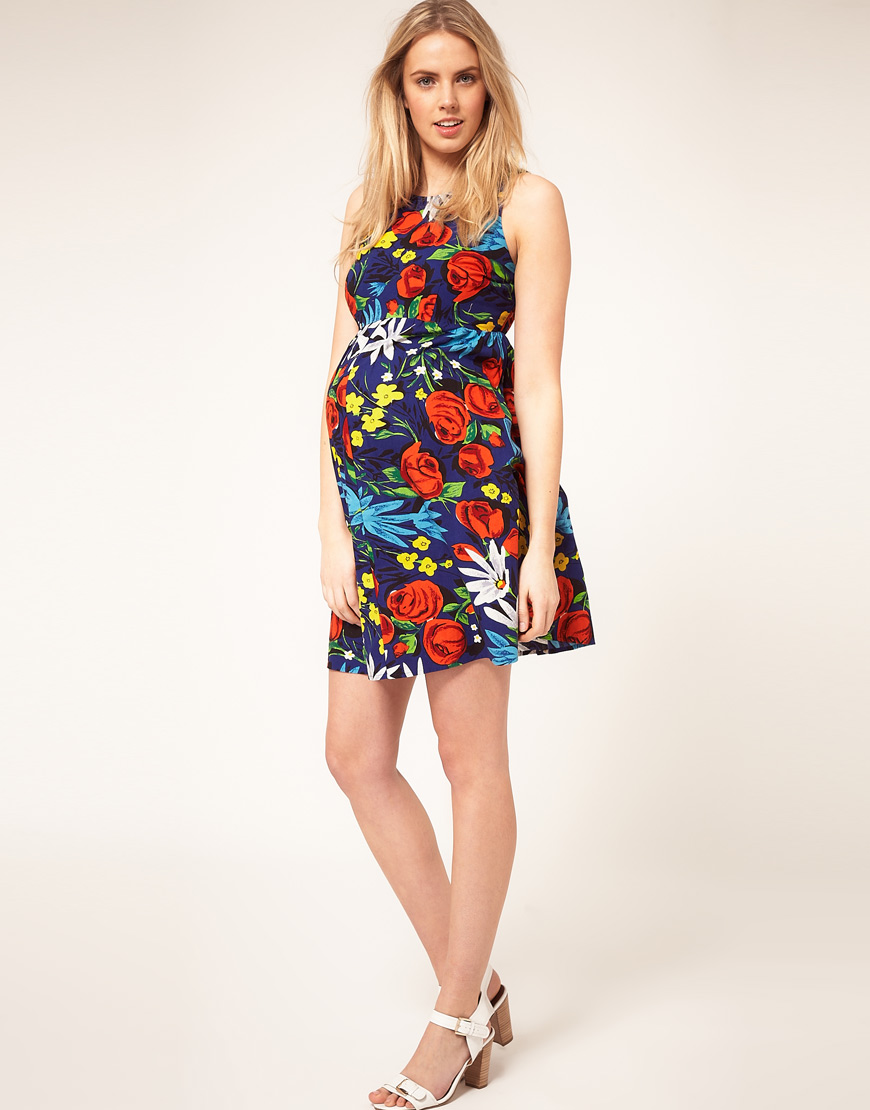 Asos asos maternity dress in tropical print in blue lyst be inspired ombrellifo Images