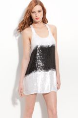Parker Racerback Sequin Minidress in Black (cream/ black) - Lyst