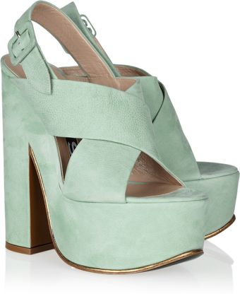 Rochas Textured Leather Platform Sandals - Lyst