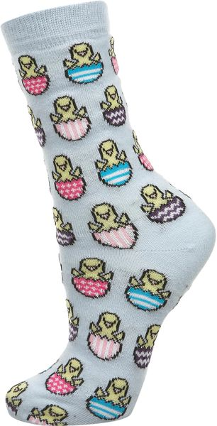 Topshop Easter Egg and Chick Socks in Blue - Lyst