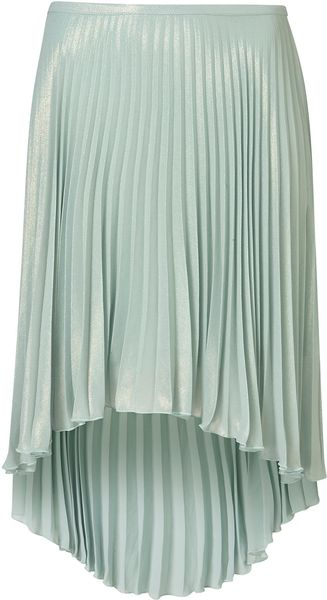Topshop Pleated Dip Back Skirt - Lyst