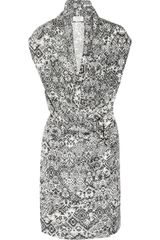 Yves Saint Laurent Printed Silkhabotai Dress in Gray (black) - Lyst
