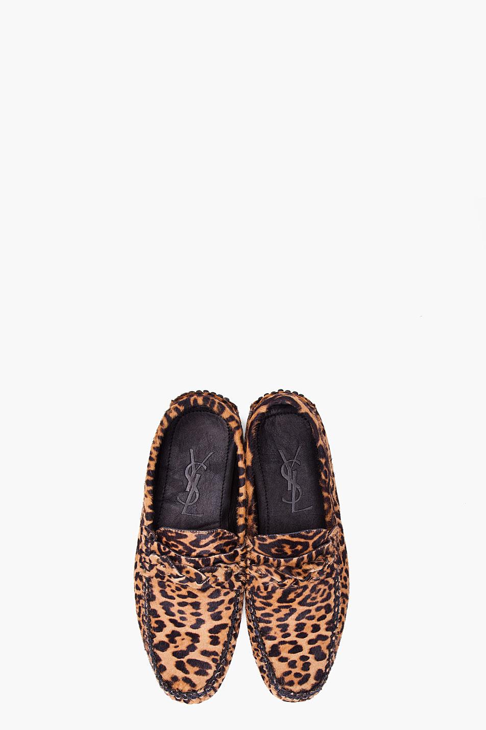 99250bada20 Lyst - Saint Laurent Leopard Driving Loafers for Men
