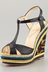 Christian Louboutin Zeppa Colorblock Wedge Sandal - Lyst