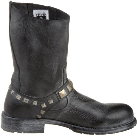 frye frye mens rogan studded engineer boot in black for