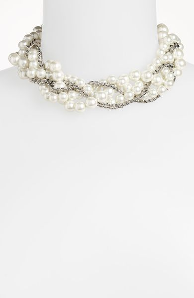 Givenchy Indus Glass Pearl Torsade Necklace in White (white pearl/ silver) - Lyst