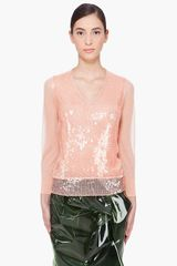 Marc Jacobs Peach Sequin Sweater in Pink - Lyst