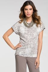 St. John Collection Confetti Print Tee in Gray (fresco celedon multi) - Lyst