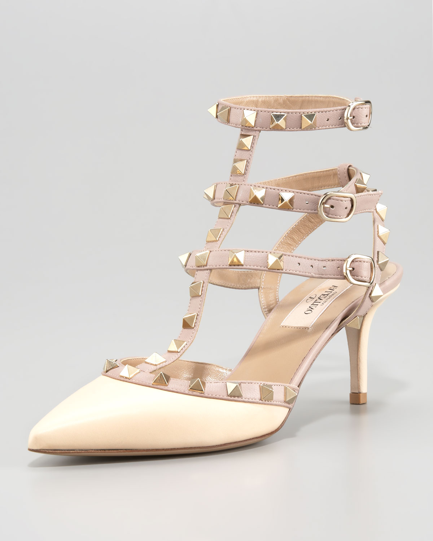b0791b7a81cd Lyst - Valentino Rockstud Ankle Wrap Pump in Natural