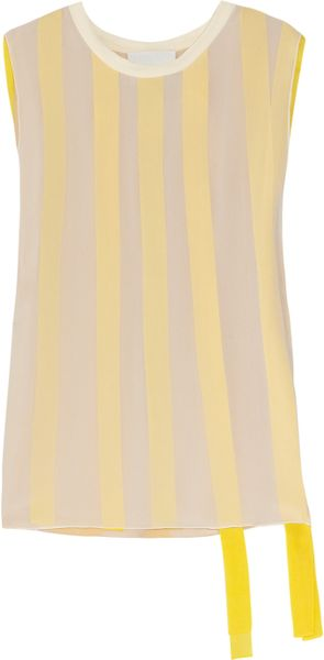 3.1 Phillip Lim Ribbon Embellished Silk Chiffon Top in Beige (cream) - Lyst