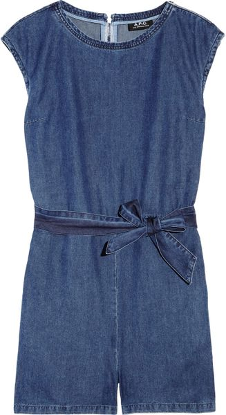 A.p.c. Washed Denim Playsuit in Blue (denim) - Lyst
