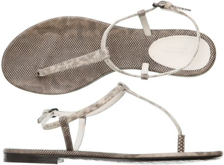 Bottega Veneta Karung Snake Flat Sandals in Animal (snake) - Lyst