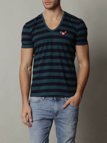 Burberry Prorsum Striped Tshirt in Blue for Men (teal) - Lyst